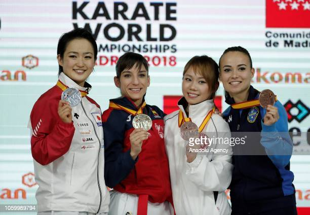 Gold medal winner Sandra Sanchez of Spain silver medal winner Kiyou Shimizu of Japan bronze medal winners Grace Sheung Lau Mo of Hong Kong and...