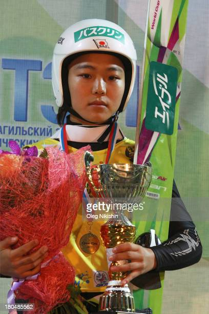 Gold medal winner Sara Takanashi of Japan holds her trophy during the medal ceremony after winning the FIS Ski Jumping Grand Prix Womens on September...