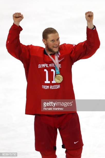 Gold medal winner Sergei Andronov of Olympic Athlete from Russia celebrates after defeating Germany 43 in overtime during the Men's Gold Medal Game...