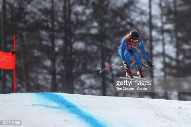 Gold medal winner Sofia Goggia from Italy in action during the Alpine Skiing Ladies' Downhill race at 'nJeongseon Alpine Centre on February 21 2018...