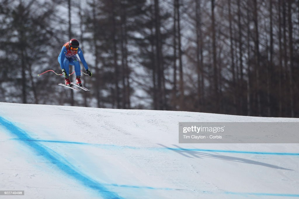 Gold medal winner Sofia Goggia #5 from Italy in action during the Alpine Skiing - Ladies' Downhill race at 'nJeongseon Alpine Centre on February 21, 2018 in PyeongChang, South Korea.