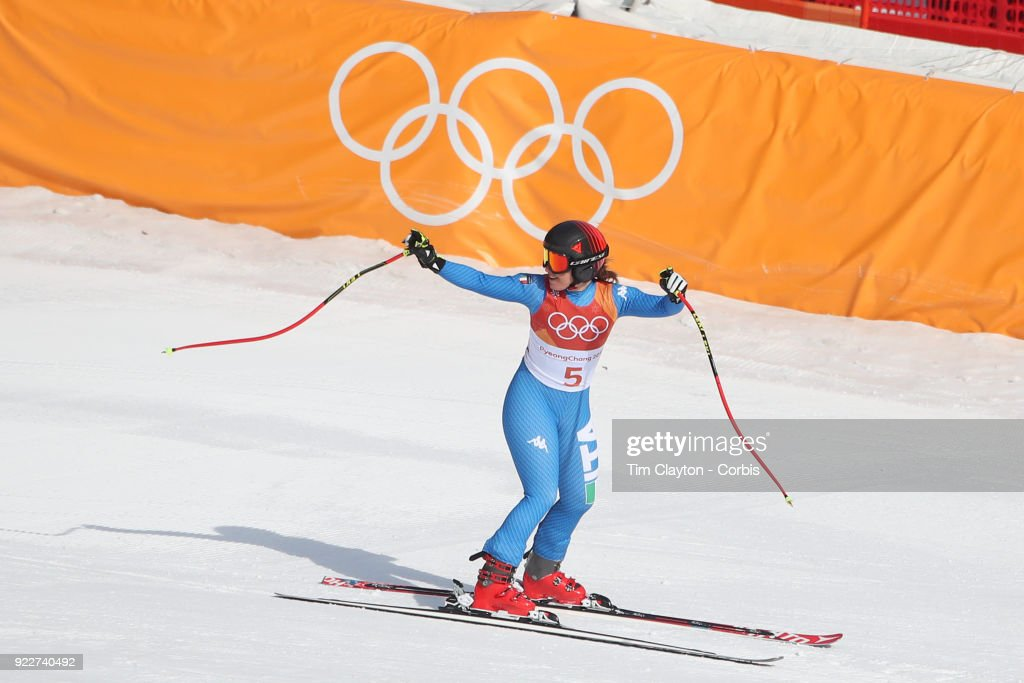 Gold medal winner Sofia Goggia #5 from Italy reacts after her run during the Alpine Skiing - Ladies' Downhill race at 'nJeongseon Alpine Centre on February 21, 2018 in PyeongChang, South Korea.