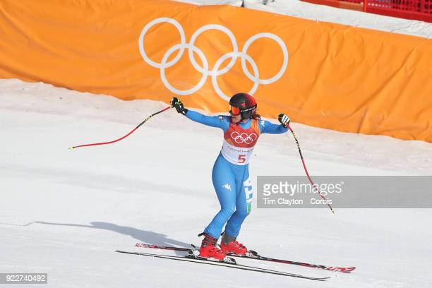 Gold medal winner Sofia Goggia from Italy reacts after her run during the Alpine Skiing Ladies' Downhill race at 'nJeongseon Alpine Centre on...