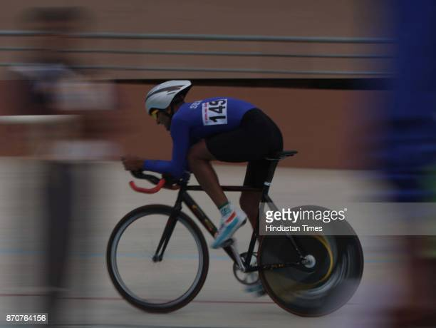 Gold medal winner Sombir Singh of Services in action during the 4000 meter Cycle Pursuit event competition in the ongoing 34th National Game at Mega...