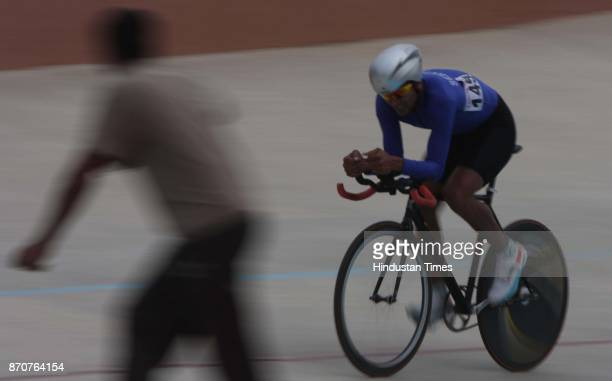 Gold medal winner Sombir Singh of Services in action during the 4000meter Cycle Pursuit event competition in the ongoing 34th National Game at Mega...