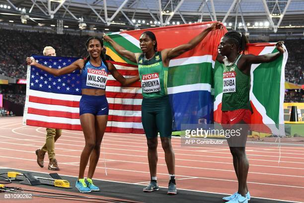 Gold medal winner South Africa's Caster Semenya poses with silver medallist Burundi's Francine Niyonsaba and bronze medallist US athlete Ajee Wilson...