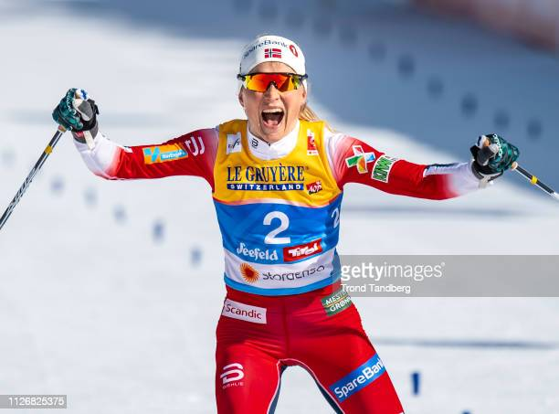 Gold Medal Winner Therese Johaug of Norway celebrates victory during FIS Nordic World Ski Championship Cross Country Ladies Skiathlon 75 km Classic...