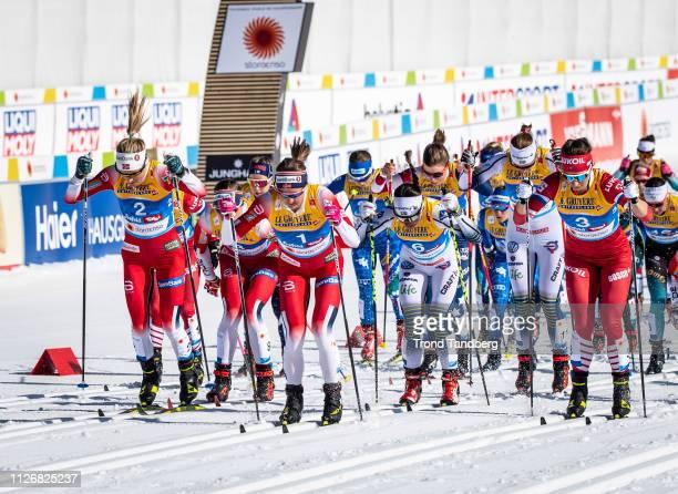 Gold Medal Winner Therese Johaug of Norway Ingvild Flugstad Oestberg of Norway Natalia Nepryaeva of Russia during FIS Nordic World Ski Championship...