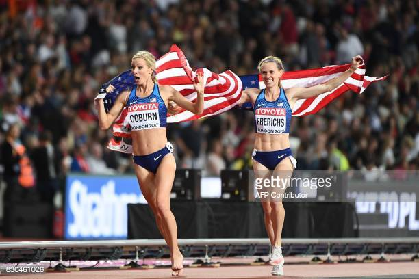 Gold medal winner US athlete Emma Coburn and silver medallist US athlete Courtney Frerichs celebrate after the final of the women's 3000m...