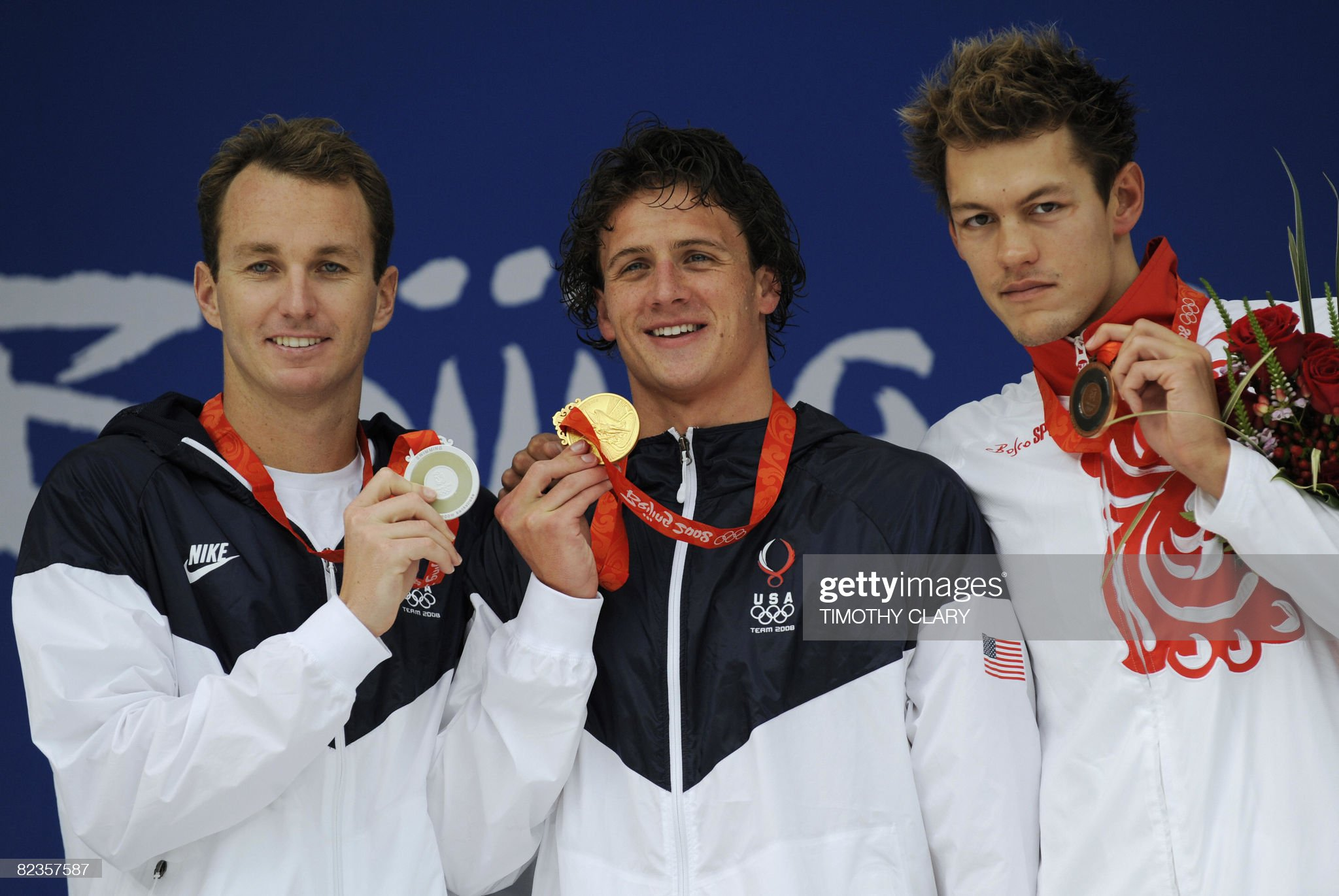 Gold medal winner US swimmer Ryan Lochte : Fotografía de noticias
