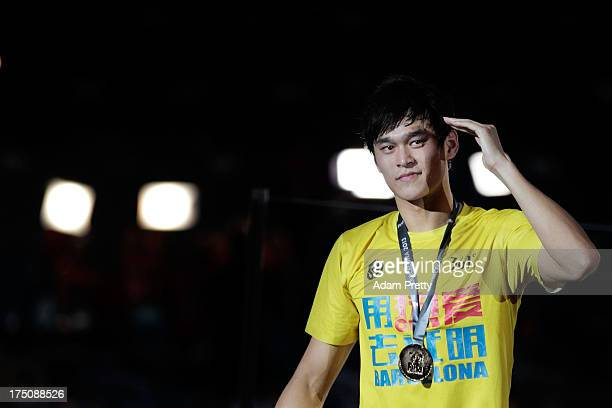 Gold medal winner Yang Sun of China celebrates after the Swimming Men's 800m Freestyle Final on day twelve of the 15th FINA World Championships at...