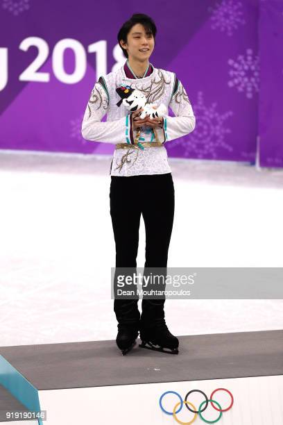 Gold medal winner Yuzuru Hanyu of Japan celebrates during the victory ceremony for the Men's Single Free Program on day eight of the PyeongChang 2018...