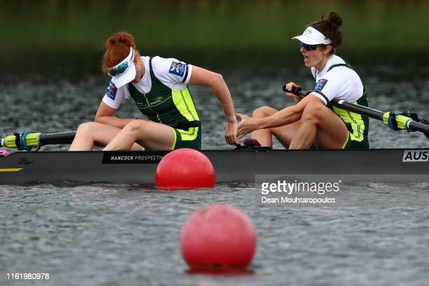Gold medal winners Annabelle McIntyre and Jessica Morrison of Australia celebrate after they compete and win the Final A Women's Pair W2 during Day 3...