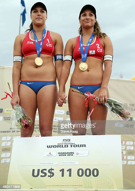 Gold medal winners Barbora Hermannova and Martina Bonnerova of the Czech Republic during Day 6 of the FIVB Mangaung Open on December 14 2014 in...