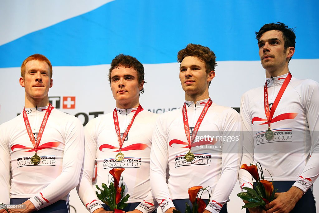 Gold medal winners (L-R) Ed Clancy, Steven Burke, Owain Doull and Andy Tennant of Great Britain pose on the podium after the Men's Team Pursuit Finalson day one of the UCI Track Cycling World Cup at Manchester Velodrome on November 1, 2013 in Manchester, England.