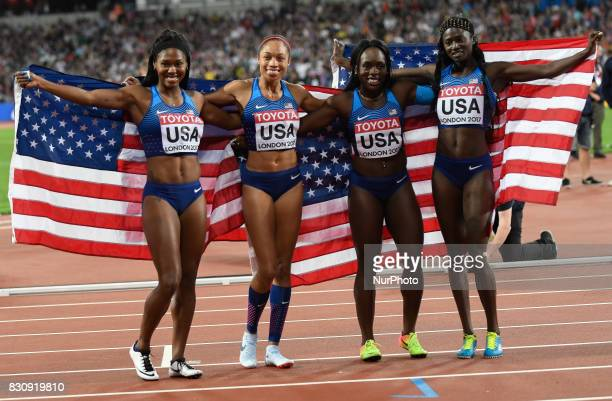 USA Gold medal winners in the 4 times 100 meter final in London at the 2017 IAAF World Championships athletics