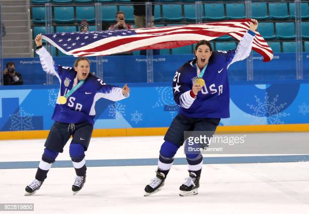 Gold medal winners Kendall Coyne and Hilary Knight of the United States celebrate after defeating Canada in a shootout in the Women's Gold Medal Game...