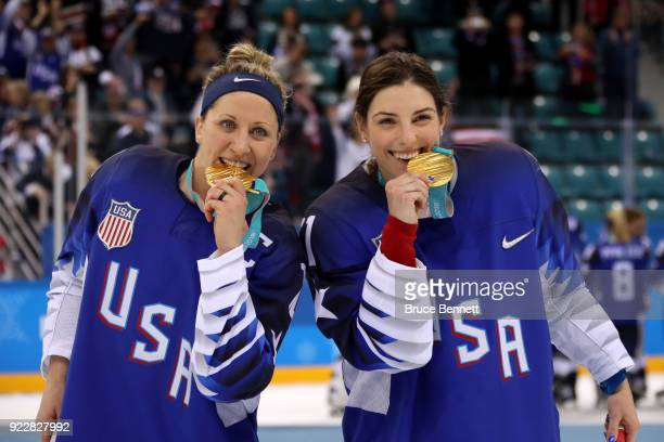 Gold medal winners Meghan Duggan and Hilary Knight of the United States celebrate after defeating Canada in a shootout in the Women's Gold Medal Game...