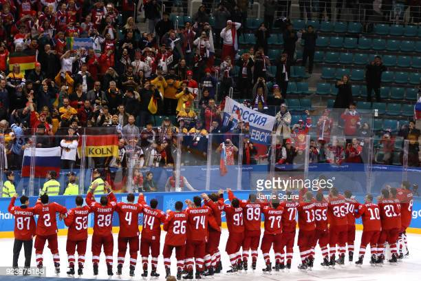 Gold medal winners Olympic Athletes from Russia acknowledge the crowd after defeating Germany 43 in overtime during the Men's Gold Medal Game on day...