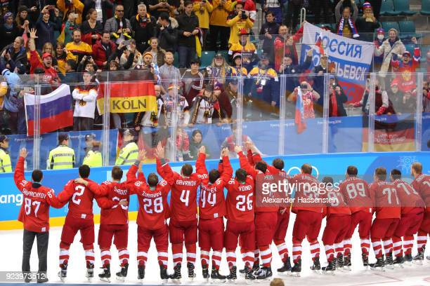 Gold medal winners Olympic Athletes from Russia celebrate during the medal ceremony after defeating Germany 43 in overtime during the Men's Gold...