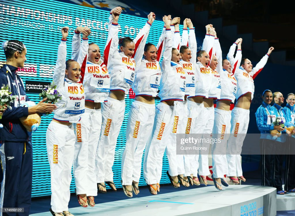 Gold medal winners Russia celebrate after winning the Synchronized Swimming Free Combination Final on day eight of the 15th FINA World Championships at Palau Sant Jordi on July 27, 2013 in Barcelona, Spain.