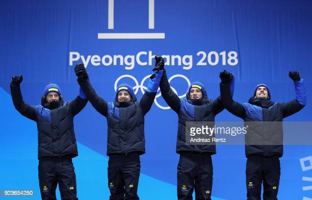 Gold medal winners team Sweden celebrate during the medal ceremony for the Men's 4x75km Relay on day fifteen of the PyeongChang 2018 Winter Olympic...
