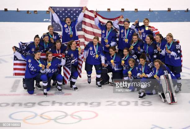 Gold medal winners the United States celebrate after defeating Canada in a shootout in the Women's Gold Medal Game on day thirteen of the PyeongChang...