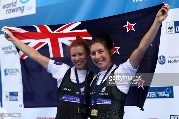 Gold medal winners, Zoe McBride and Jackie Kiddle of new Zealand celebrate after they compete and win the Final A, Lightweight Women's Double Sculls...