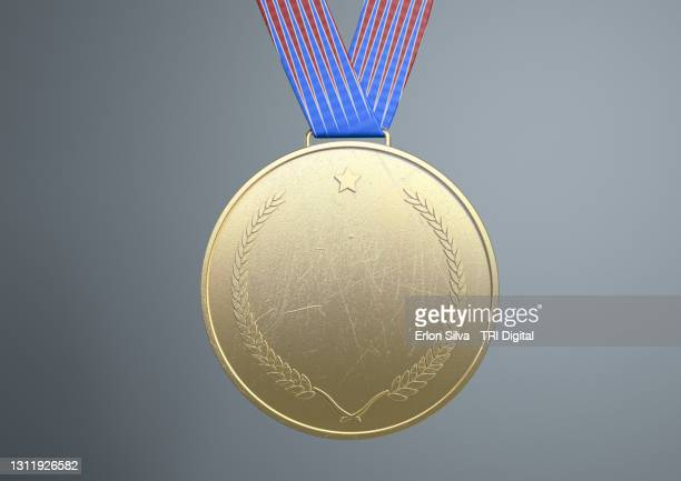 gold medal with copy space for message to winners - the olympic games stock pictures, royalty-free photos & images