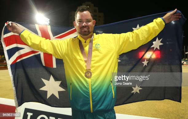 Gold medalist Aaron Wilson of Australia poses with his medal after the medal ceremony after the men's singles gold medal match between Aaron Wilson...