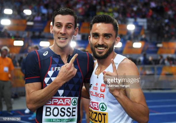 Gold medalist Adam Kszczot of Poland and Bronze Medalist Pierre-Ambroise Bosse of France celebrate winning their respecitve medals in the Men's 800m...