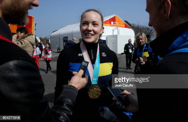 Gold medalist Agnes Knochenhauer of Sweden answers to the swedish media following the Women's Gold Medal game between Sweden and South Korea at the...