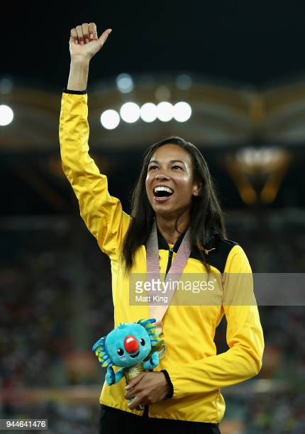 Gold medalist Aisha Praught of Jamaica celebrates during the medal ceremony for the Women's 3000 metres Steeplechase during athletics on day seven of...