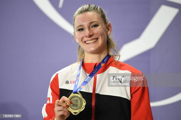 Gold medalist Ajla Del Ponte of Switzerland poses for a photo during the medal ceremony for Women's 60 metres during the second session on Day 3 of...
