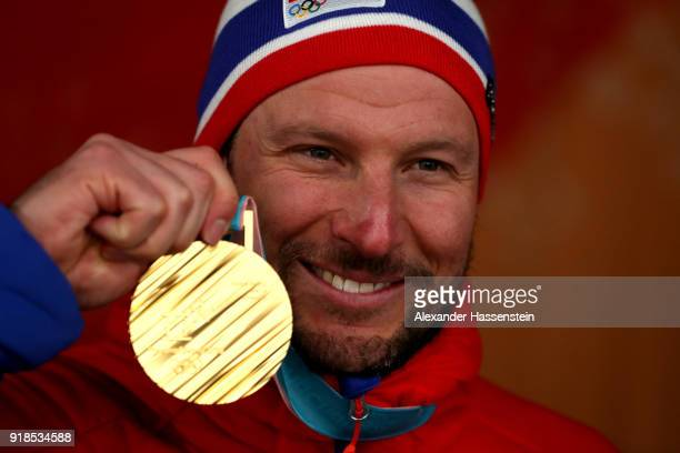 Gold medalist Aksel Lund Svindal of Norway celebrates during the medal ceremony for Alpine Skiing - Men's Downhill on day six of the PyeongChang 2018...