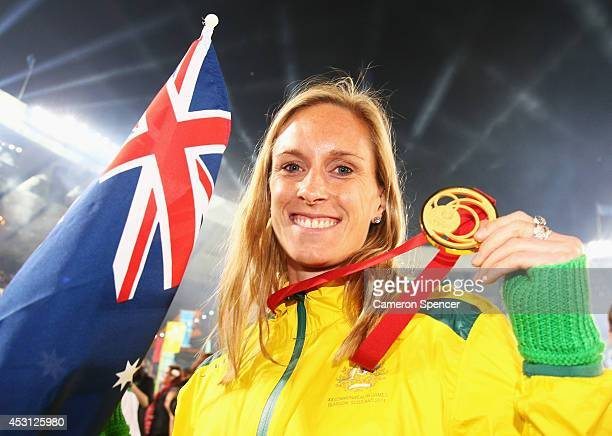 Gold medalist Alana Boyd of Australia poses with her medal during the Closing Ceremony for the Glasgow 2014 Commonwealth Games at Hampden Park on...