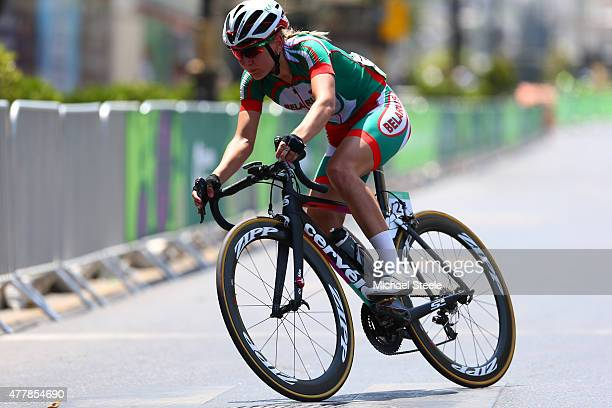 Gold medalist Alena Amialiusik of Belarus competes in the Women's Road Race on day eight of the Baku 2015 European Games at Freedom Square on June 20...