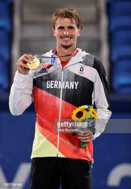Gold medalist Alexander Zverev of Team Germany poses on the podium during the medal ceremony for Tennis Men's Singles on day nine of the Tokyo 2020...