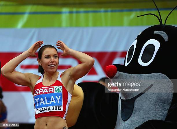 Gold medalist Alina Talay of Belarus celebrates after the Women's 60 metres final during day one of the 2015 European Athletics Indoor Championships...