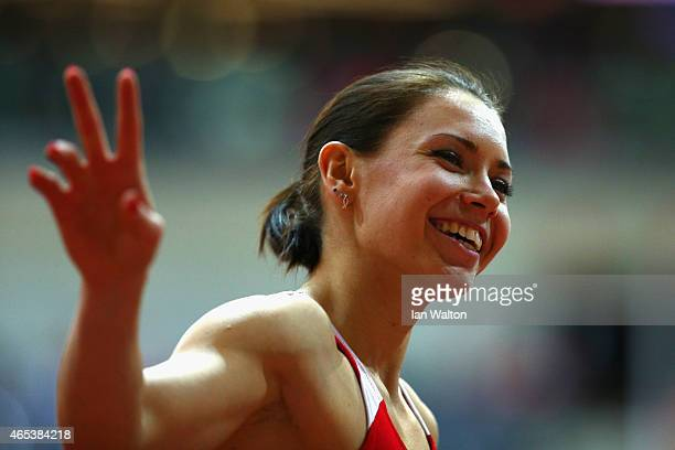Gold medalist Alina Talay of Belarus smiles after the Women's 60 metres final during day one of the 2015 European Athletics Indoor Championships at...