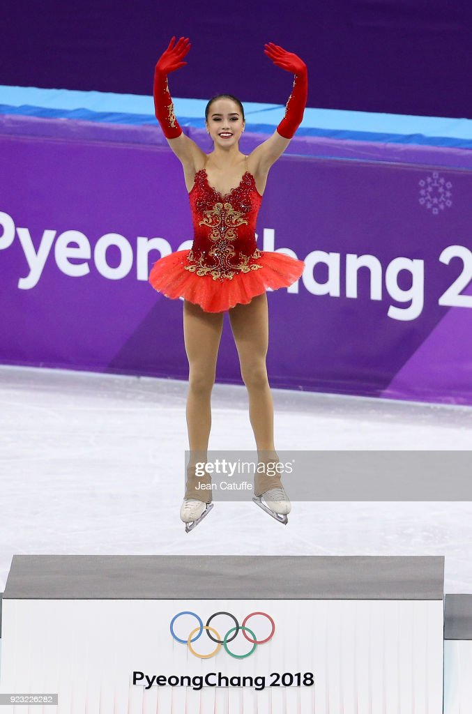 Gold medalist Alina Zagitova of Olympic Athlete from Russia during the venue victory ceremony following the Figure Skating Ladies Free program on day fourteen of the PyeongChang 2018 Winter Olympic Games at Gangneung Ice Arena on February 23, 2018 in Gangneung, South Korea.