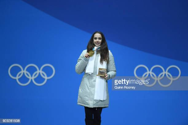 Gold medalist Alina Zagitova of Olympic Athlete from Russia celebrates during the medal ceremony for Figure Skating Ladies' Single Skating on day 14...