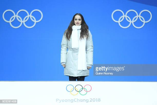 Gold medalist Alina Zagitova of Olympic Athlete from Russia stands on the podium during the medal ceremony for Figure Skating Ladies' Single Skating...