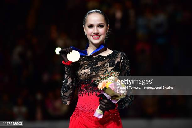 Gold medalist AlinaZagitova of Russia poses for photographs after the medal ceremony for the Ladies event on day three of the 2019 ISU World Figure...
