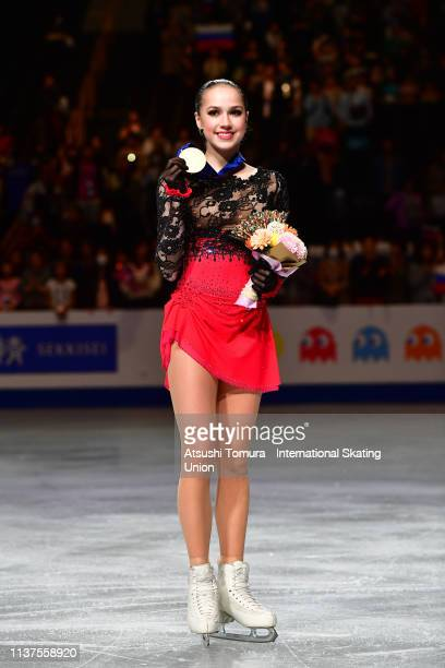 Gold medalist Alina Zagitova of Russia poses for photographs after the medal ceremony for the Ladies event on day three of the 2019 ISU World Figure...