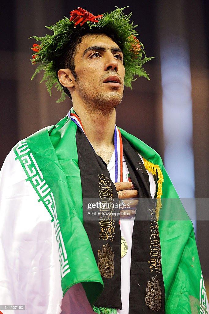 Gold Medalist Alireza Nassrazadany of Iran poses on a podium during day two of the 20th Asian Taekwondo Championships at Phu Tho Stadium on May 10, 2012 in Ho Chi Minh City, Vietnam.