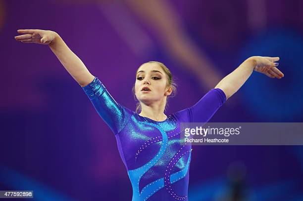 Gold medalist Aliya Mustafina of Russia competes on the Floor in the Women's Individual AllAround final on day six of the Baku 2015 European Games at...