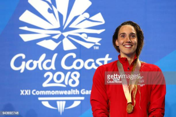 Gold medalist Alys Thomas of Wales poses during the medal ceremony for the Women's 200m Butterfly Final on day five of the Gold Coast 2018...