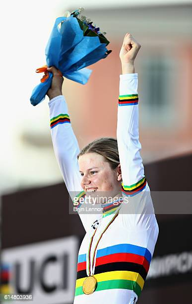 Gold medalist Amalie Dideriksen of Denmark celebrates her win on the podium after the Elite Womens Road Race on Day Seven of the UCI Road World...
