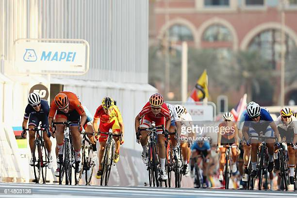 Gold medalist Amalie Dideriksen of Denmark sprints with Kirsten Wild of Netherlands to the finish in the Elite Womens Road Race on Day Seven of the...